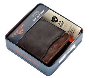 Dockers Men's Leather RFID-Blocking Extra Capacity Slim Bifold Wallet Brown