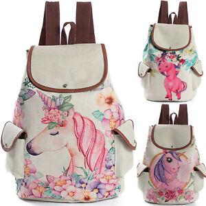 Women Ladies Backpack School Bag Canvas Drawstring Girl Travel Notebook Rucksack