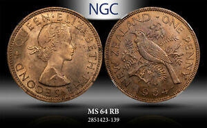 1964 NEWZEALAND PENNY NGC MS 64 RB !!!!!