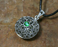 Medieval Medallion Silver Zirconia Green + Leather Band Sterling Silver Pendant