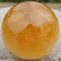 Natural Citrine Calcite Quartz Crystal Sphere Ball Healing Gemstone 100MM+Stand