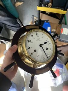 Schatz Royal Mariner 8-day Brass Ships Bell Clock Untested No Key