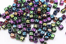 Black Cube Alphabet Bead Small Square Shaped Neon English Word Letter A-Z 100pcs