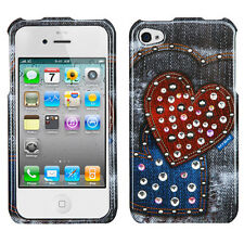 For iPhone 4 4S Spot Diamond Bling HARD Case Cover Black Heart Jeans