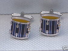 "Drummer's gift ""BLUE/BLACK DRUM"" Silver Style METAL Cuff Links in a GIFT BOX-NEW"