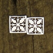 Hawaiian 925 Sterling Silver Square Pineapple Quilt Cut Post Earrings # SE41001