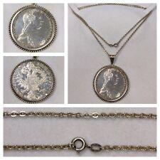 Argent Pièce de monnaie chaîne pendentif Maria Theresa pièce de monnaie 1780