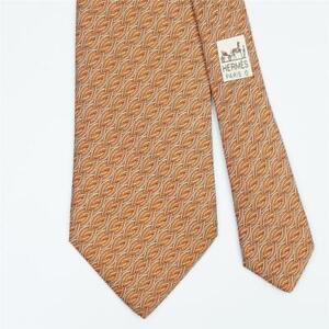 HERMES TIE 7936 MA Braid Striped in Orange Classic Silk Necktie