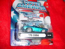 MUSCLE MACHINES '70 CUDA 04-30 BLUE VOTE AMERICA SERIES MIP FREE USA SHIPPING