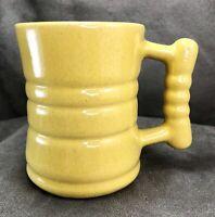 "Vintage Frankoma Pottery C3 4"" Barrel Mug Cup Autumn Yellow MCM Nice Glaze!"