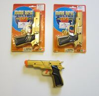 "2 NEW GOLD TOY CAP GUNS 7"" POLICE GUN .45 DETECTIVE  PISTOL FIRES 8 RING CAPS"