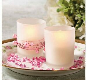 Frosted Glass Votive Candle Holders 24 wedding pack party birthday dinner decor