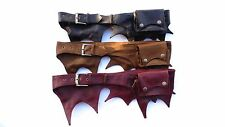Leather pocket belt money bum bag festival travel Dark warm Brown