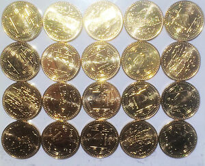 Nepal 1 Rupee Mount Everest 20mm Brass plated Steel Coins lot UNC 20pcs