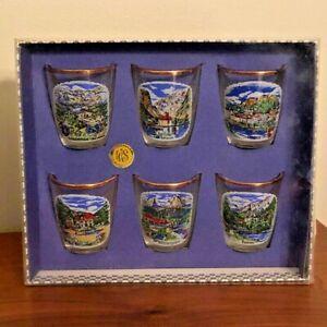 Boxed Set of 6 Vintage Glass Shot Glasses Souvenir West Germany, Gold Rimmed
