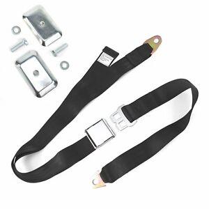 2pt Black Airplane Buckle Lap Seat Belt w/ Flat Plate Hardware