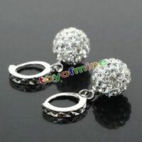 Frauen-weißes füllte Kristallrhinestone-Band-Ohrring-Hochzeits-Schmucksachen Neu