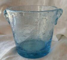 VINTAGE ICE BUCKET BLUE BLOWN GLASS RETRO ART GLASS BLOWN