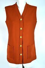 Vintage Vest Size Medium M 70's Orange Sweater Jacket Hedy Knits of California