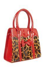 Red Leopard Juicy Bits Vintage Retro 50s Bow Shoulder Hand Bag Banned Apparel