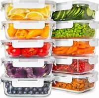 Naturals Glass Food Storage Containers with Lids 24 Ounce 10 Pack Food Storage