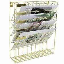Hanging File Holder Organizer Metal Document Letter Magazine Rack 6 Tier Gold