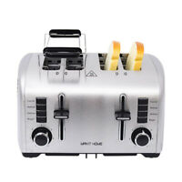 4 Slice Stainless Steel Compact Bread Toaster Extra Wide Slot Crumb Tray Kitchen
