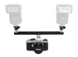 "One Hiro Metal 12"" Twin Flash Bracket Kit Two Metal Cold Shoe Adapters NEW"