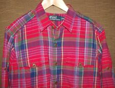 Men's Polo Ralph Lauren Plaid Workshirt Indian Madras Modern Safari Shirt Size M