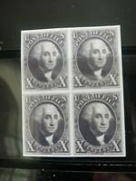 SC# 2 US 1847 Washington 10C Stamp Reproduction Place Holders Block of 4