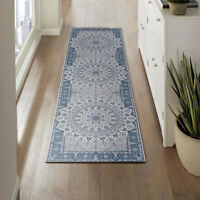 Navy Blue Runner Rug Distressed Mandala Tradtiona Bohemian Carpet 80x300cm