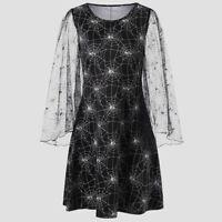 Women's Loose Halloween Party Cobweb Print Yarn Long Sleeves Mini Dresses
