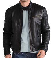 New Men Soft Lambskin Motorcycle Biker Casual Leather Jacket Cafe Racer Vest 741