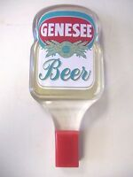 VINTAGE GENESEE BEER CLEAR LUCITE ACRYLIC TAP HANDLE ONE GREAT TASTE BLUE & GOLD