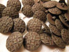 lot 10 boutons marron effet tissé couture mercerie à pied diamètre 1,7 cm R 1272