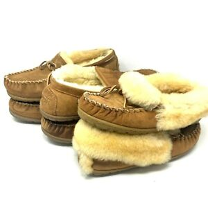 LL Bean Brown Shearling Lined Wicked Good Moccasin Slippers *Damaged* Lot of 3
