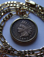 CHIEFS HEAD WAR BONNET INDIAN PENNY PENDANT, Heavy Gold Filled Setting & Chain