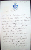 1898 LETTERA AUTOGRAFA SENATORE LUIGI FERRARIS DA SOSTEGNO SCRITTA DA VALSALICE