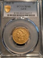1840-D TALL D VARIETY GOLD $5 HALF EAGLE Extremely RARE Dahlonega PCGS XF-40