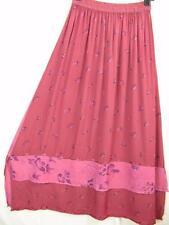 Sk199~Tienda Ho~PINK & MERLOT~Double Hem Skirt~Embroidered~RAYON~OOAK~OS (L XL?)