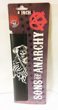 """LEATHER  MOTORCYCLE  HAIR TIE / WRAP 8"""" SON'S OF ANARCHY REAPER DRAPED W/FLAG"""