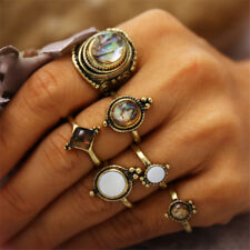 6Pcs Retro Women Gold Silver Boho Midi Finger Knuckle Rings Jewelry Gifts--