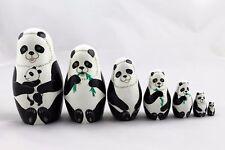 Matryoshka Russian Nesting Doll Babushka Beautiful Family of Pandas Panda 7 Pcs