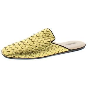 Bottega Veneta Womens Gold Leather Mule Slippers Shoes 41 Medium (B,M) BHFO 6264