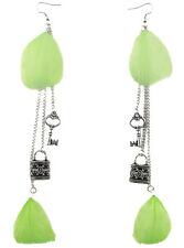 F1867 vogue green light Feather chain lock & key long charm dangle earrings New