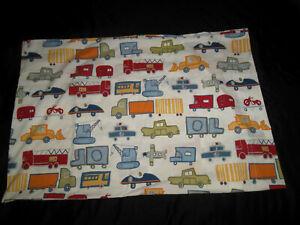 Pottery Barn Kids Patrick STD Pillowcase Fire Trucks Planes Cars Bulldozer Crane
