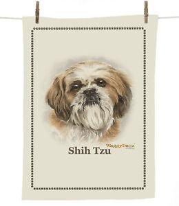 Waggy Dogz cd120 Brown Shih Tzu (Head) Dog Breed100% Cotton Tea Towel 67cmx47cm