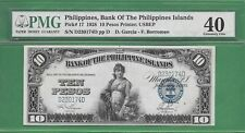 1928 BANK OF THE PHILIPPINES ISLANDS TEN PESO P-17 PMG EXTREMELY FINE 40