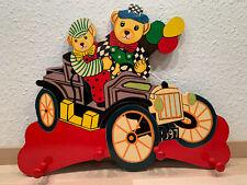 Kleiderhaken Wand Holz bunt Bären Auto Kinderzimmer gebraucht