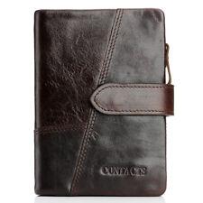 Men Genuine Leather Trifold Wallet Cash Card Holder Zip Coin Pocket Bifold Purse